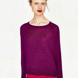 Zara Knit Purple Sweater Size Large